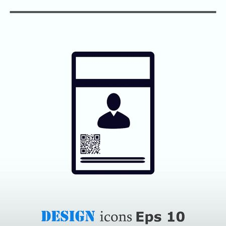 guests: Document determining identity icon flat Vector illustration