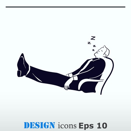 Businessman is sleeping in a chair. The man in his business suit laid his feet on the table. The clerk is relaxing. The official is asleep at work. Illustration