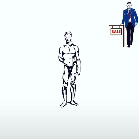 Silhouette of athletic men. Beauty, glamor. Vector illustration. Handsome male athlete. Illustration