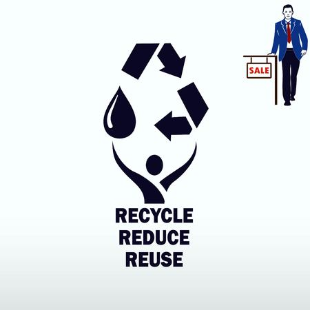 tirar basura: Throwing trash , recycle, pollution, recycling and eco icon. Concept of ecology problem. Flat Vector illustration. Vectores