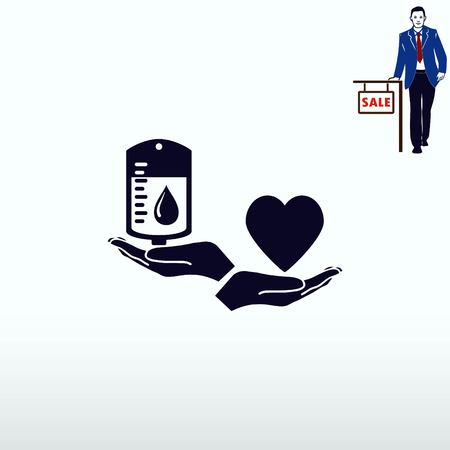 get in shape: Blood donation icon, vector illustration. Flat design style. The container transfusion icon.