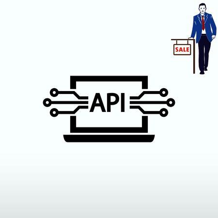コンピューター api インターフェイス アイコン、ベクトル図です。フラットなデザイン スタイル。