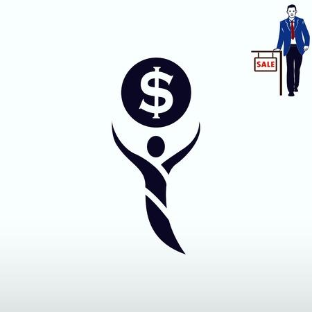 Money icon, Finance Icon, vector illustration. Flat design style. Illustration