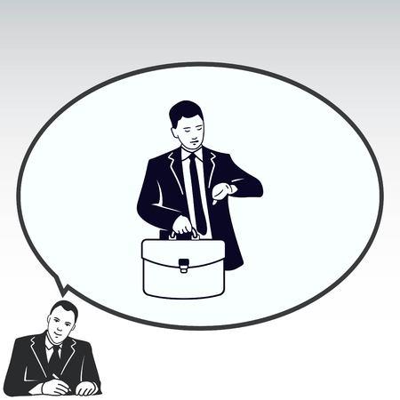 Un homme en costume regardant sa montre. Homme d'affaires ponctuel. Vector illustration.