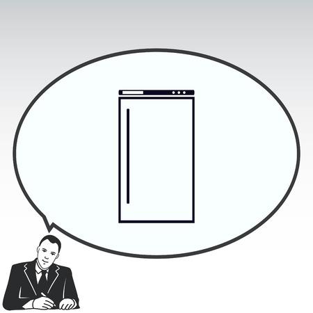 icebox: Home appliances icon. Refrigerator icon. Vector illustration. Kitchenware. Illustration