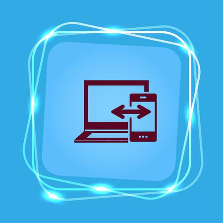 mobile data synchronization Icon, vector illustration. Flat design style.