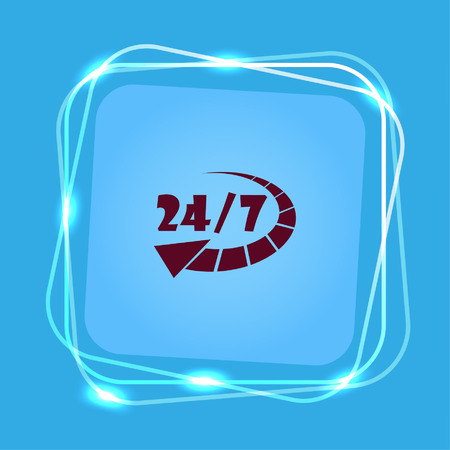 working hours: Open 24 7 icon with clock. Illustration