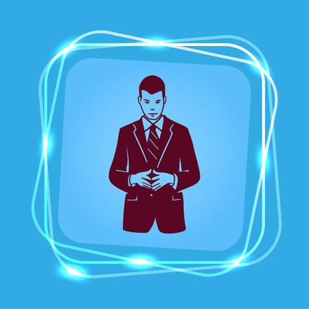 Businessman attentive focused. Vector illustration. Businessman ponders a strategic plan, tactical solutions.