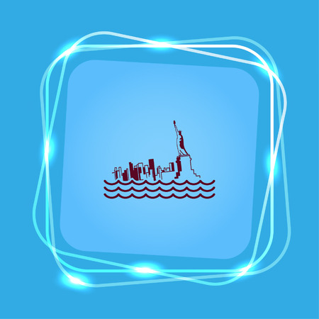 flooding: Flood icon. disaster. Typhoon. Tornado. The house is in the water. City water, vector illustration. Flat design style. Illustration