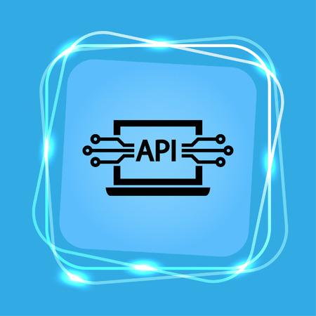 computer api interface icon, vector illustration. Flat design style. Çizim