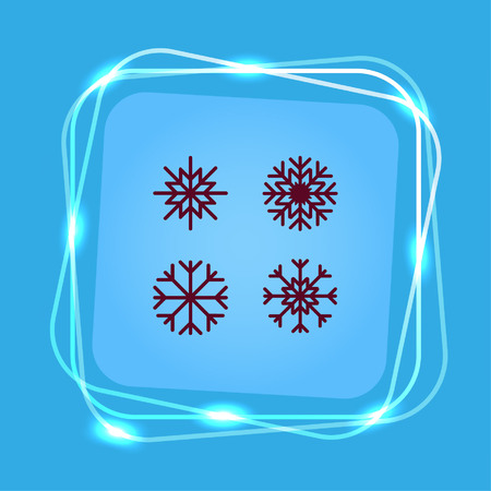 palle di neve: Snowflake icon. Vector illustration.