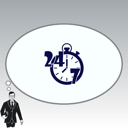 Flat design style of open 247 icon with clock