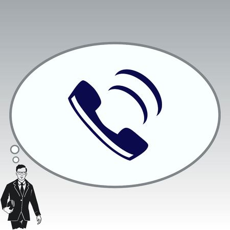 old people: The handset, phone icon , vector illustration. Illustration