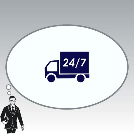 truck: Delivery sign icon, vector illustration. Illustration
