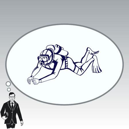 Diver icon, Extreme sports icon, diving icon. Illustration
