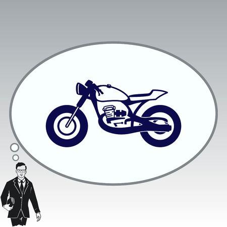 old people: Motorcycle, bike icon. Flat Vector illustration