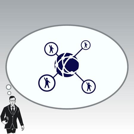 Holding globe, social network icon, vector illustration