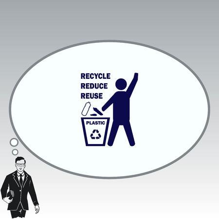 Throw away the trash icon, recycle icon Illustration