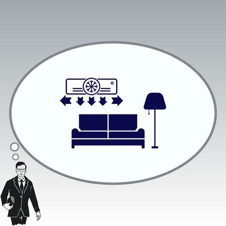 furniture design: Home interior design icon, sofa icon, living room, vector illustration. Flat design style.