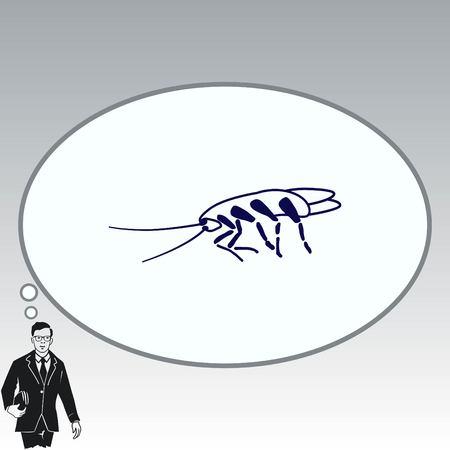 Cockroach icon, pest icon, vector illustration.