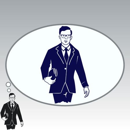 Confident businessman with a briefcase. Vector illustration. Illustration