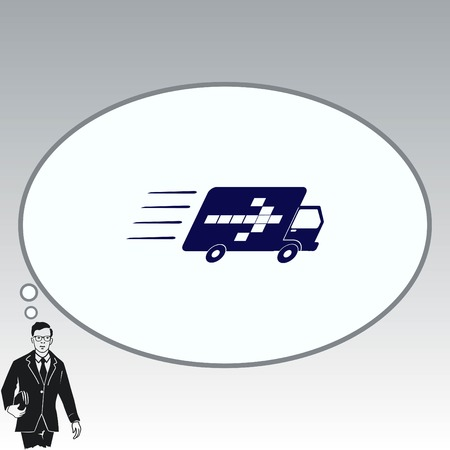 delivery truck: Delivery sign icon, vector illustration. Illustration