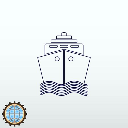 Ship icon vector illustration flat design style. Illustration