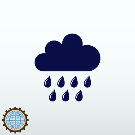 Dripping rain. Overcast. Vector illustration. Cloud rain symbol for your web site design.