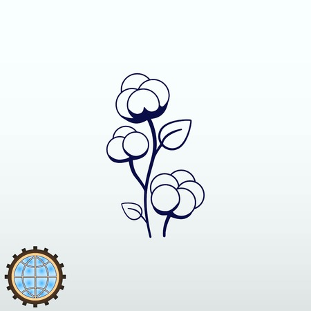 textile industry: Cotton icon, vector illustration.