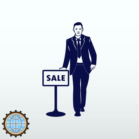 Confident businessman with a tablet sale. The developer is engaged in sales. Vector illustration.