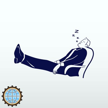 laid: Businessman is sleeping in a chair. The man in his business suit laid his feet on the table. Illustration