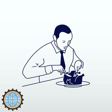A man in a suit sitting having lunch. Businessman eats chicken. Vector illustration.