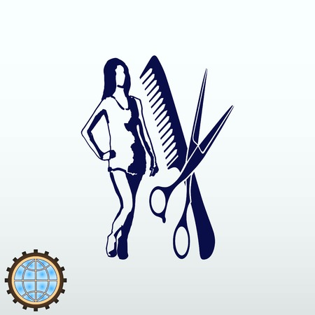 barber: Barber icon, beauty salon logo, hair style silhouette .  Flat Vector illustration