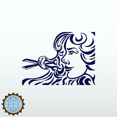 Barber icon, beauty salon logo, hair style silhouette. Flat Vector illustration