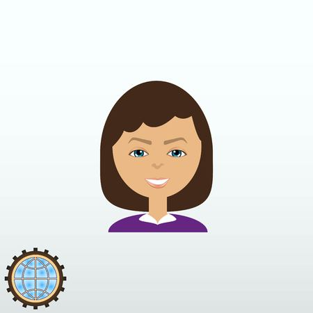 simple girl: Stylish avatar of girl in flat design. Vector illustration.