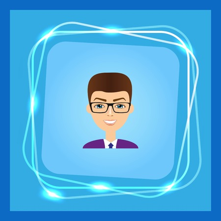 simple girl: Stylish avatar of guy in flat design. Vector illustration