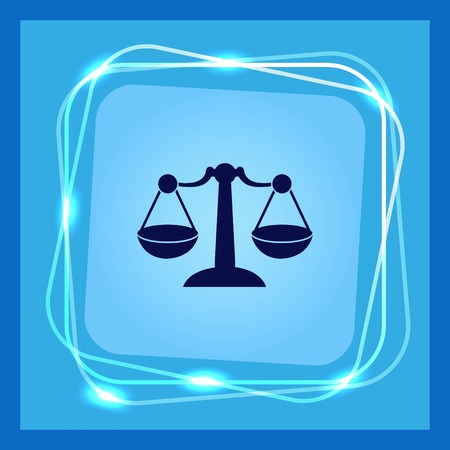 scale of justice: Scales icon, vector illustration