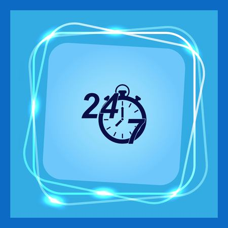 Open 24 7 icon with clock Illustration