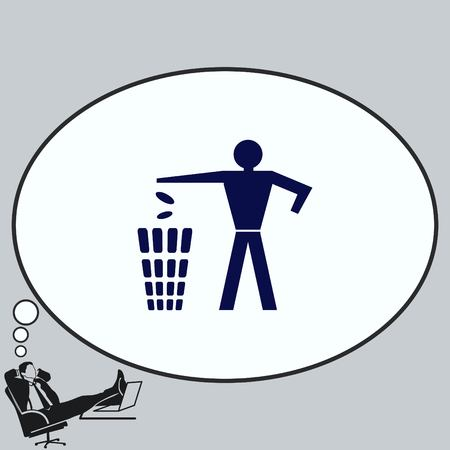 Throw away the trash icon, recycle icon Stock Vector - 83689438