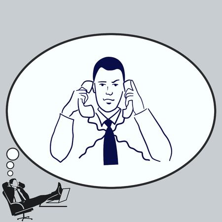 multi tasking: Multi-tasking. Business concept illustration. The man is concentrating on two telephones.