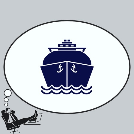 Ship icon,  LNG gas carrier, vector illustration.
