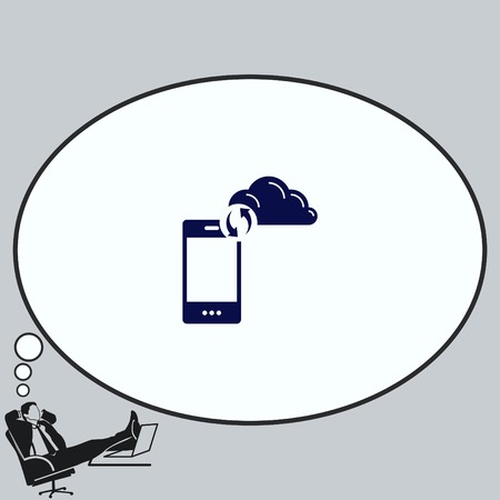 syncing: Content syncing icon. Illustration