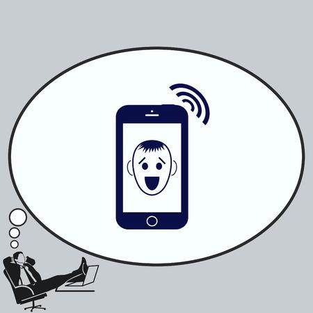 Das Mobilteil, das Telefonsymbol.