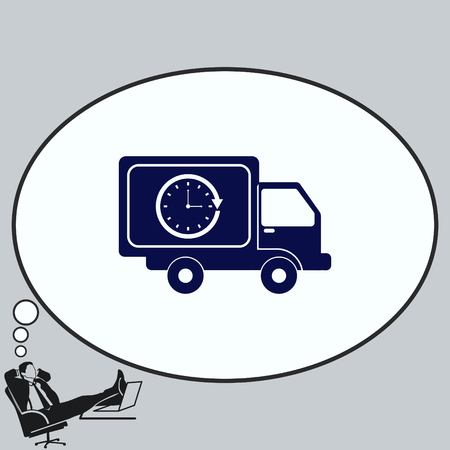 moving truck: Delivery sign icon, vector illustration. Illustration