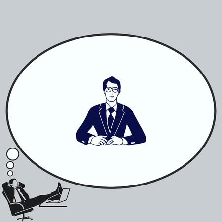 A man in a suit sitting at a desk. Businessman attentive focused. Vector illustration.