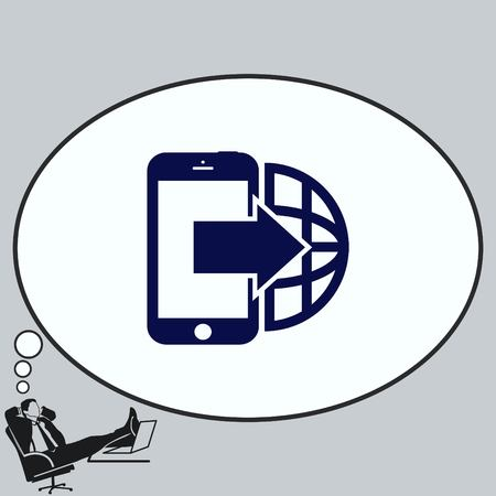 old telephone: The handset, phone icon , vector illustration. Illustration