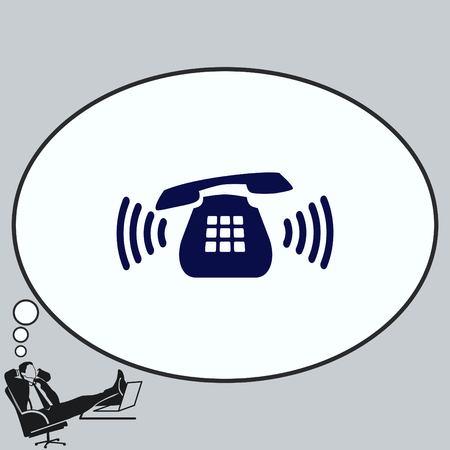 hotline: Ringing phone icon , vector illustration.