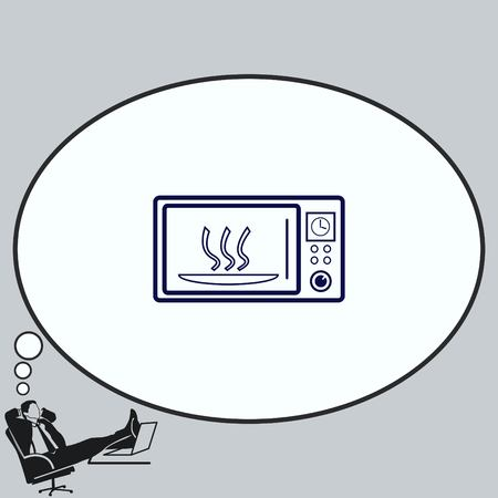steel industry: Home appliances icon. Microwave icon. Vector illustration. Kitchenware.