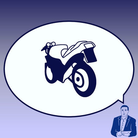 Motorcycle, bike icon. Flat Vector illustration.