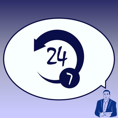 Open 24 7 icon with clock. Illustration